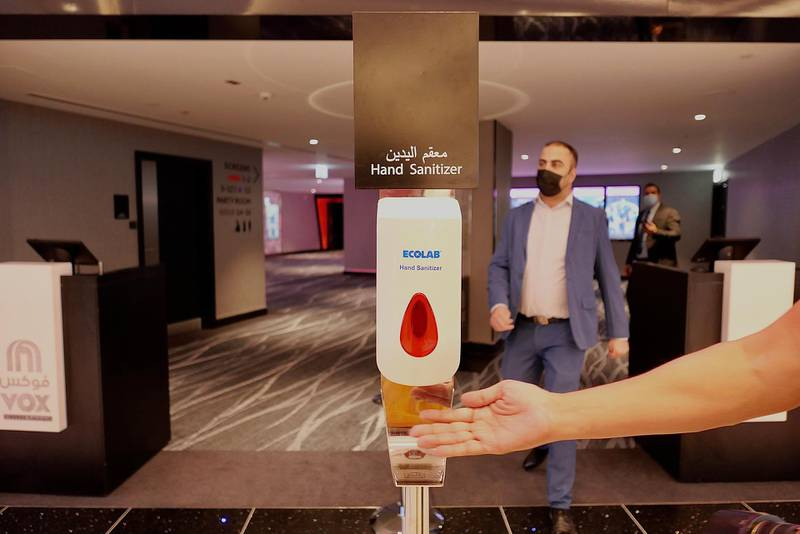 SHARJAH, UNITED ARAB EMIRATES , March 15, 2021 – Hand sanitizer placed at the newly opened Al Zahia City Centre in Sharjah. (Pawan Singh / The National) For LifeStyle/Online/Instagram. Story by Janice Rodrigues