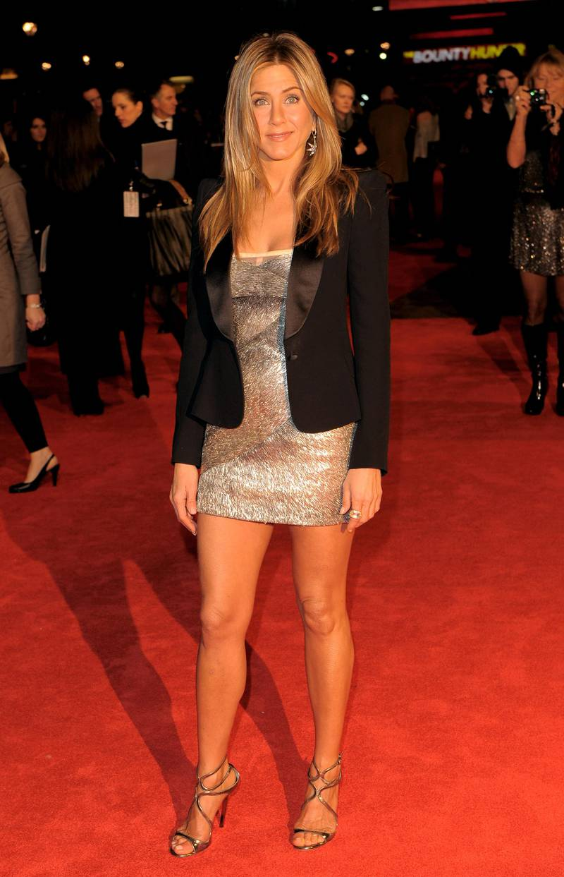 """LONDON, ENGLAND - MARCH 11:  Jennifer Aniston attends  the UK film premiere of """"The Bounty Hunter"""" at Vue West End on March 11, 2010 in London, England.  (Photo by Ian Gavan/Getty Images)"""