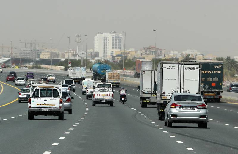DUBAI, UNITED ARAB EMIRATES , May 5 – 2020 :- Traffic on E 311 highway in Dubai. UAE government ease the coronavirus restriction for the residents around the country. (Pawan Singh / The National) For News/Standalone/Online/Stock