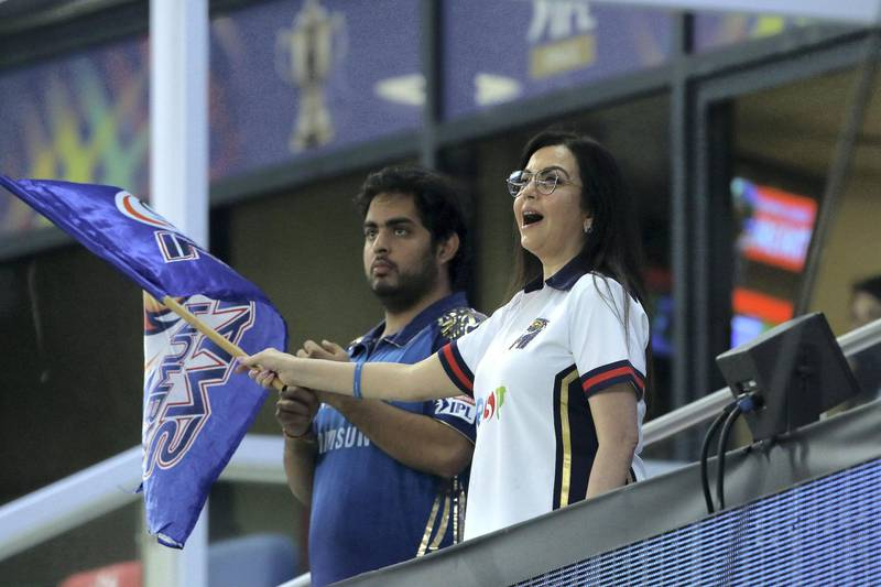 Nita Ambani owner of Mumbai Indians along with her son and co owner Akash Ambani during the final of season 13 of the Dream 11 Indian Premier League (IPL) between the Mumbai Indians and the Delhi Capitals held at the Dubai International Cricket Stadium, Dubai in the United Arab Emirates on the 10th November 2020.  Photo by: Vipin Pawar  / Sportzpics for BCCI