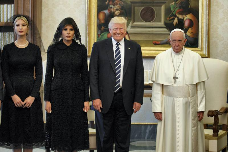 Ivanka Trump, first lady Melania Trump, and President Donald Trump stand with Pope Francis during a meeting, Wednesday, May 24, 2017, at the Vatican. (AP Photo/Evan Vucci, File)