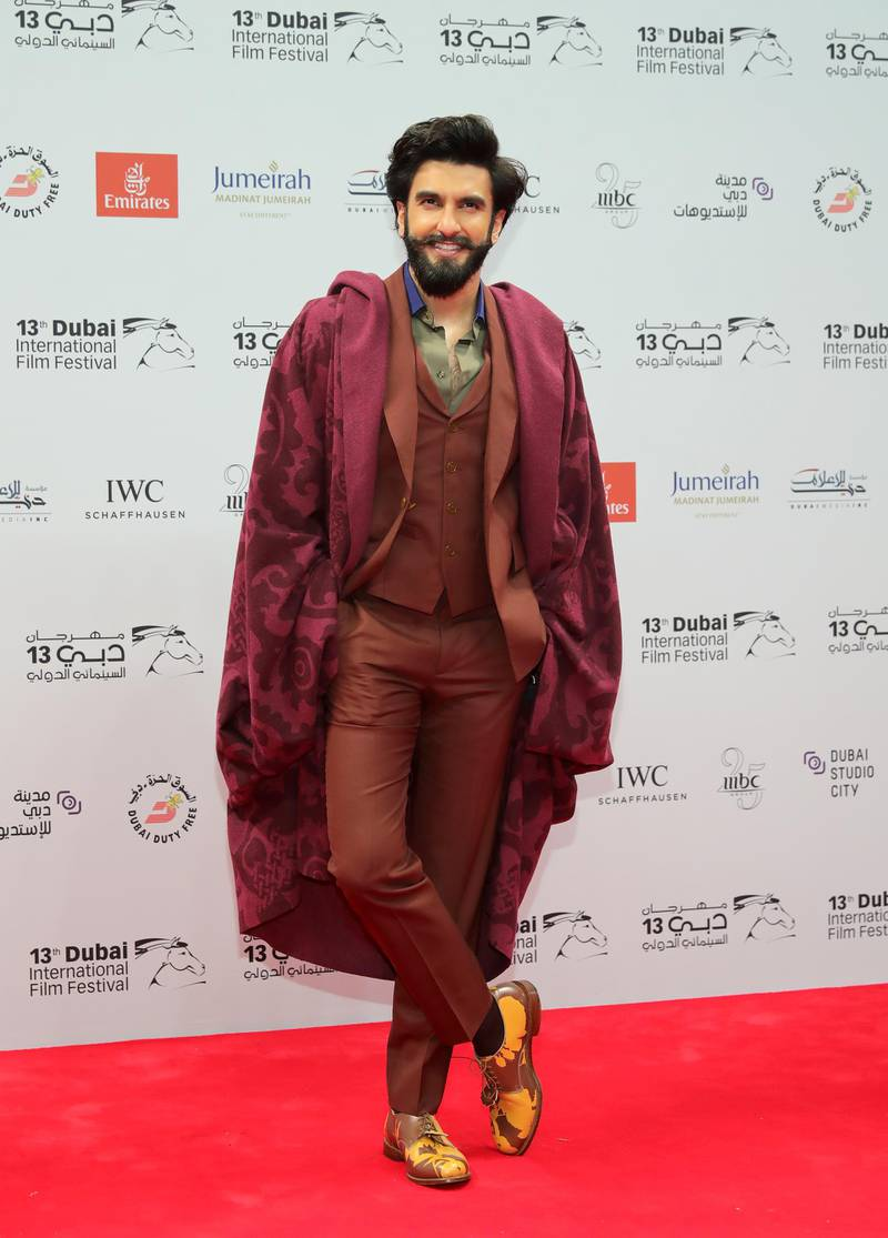 DUBAI, UNITED ARAB EMIRATES - DECEMBER 07:  Ranveer Singh attends the Opening Night Gala during day one of the 13th annual Dubai International Film Festival held at the Madinat Jumeriah Complex on December 7, 2016 in Dubai, United Arab Emirates.  (Photo by Neilson Barnard/Getty Images for DIFF)