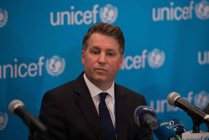 """(FILES) In this file photo taken on September 6, 2016 UNICEF Deputy Executive Director Justin Forsyth speaks during a UNICEF media briefing on the report, """"Uprooted: The Growing crisis for refugee and migrant children"""" at UNICEF House in New York. UNICEF deputy director Justin Forsyth on February 22, 2018 resigned from the UN children's agency following complaints of inappropriate behavior towards female staff in his previous post as head of British charity Save The Children. He apologized again for his past """"mistakes"""", but said his decision to step down from the top role was driven by concern that the scandal would hurt both organisations.  / AFP PHOTO / Bryan R. Smith"""