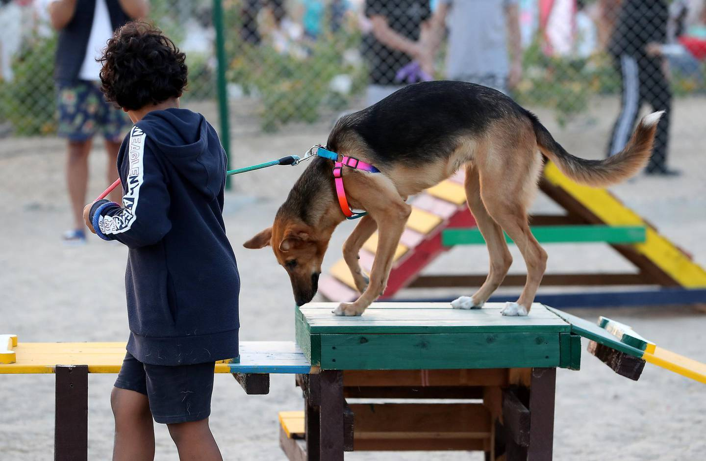 DUBAI, UNITED ARAB EMIRATES, December 10 – People with their dogs after the official opening of Central Bark (dog park) in DAMAC Akoya Oxygen in Dubai. (Pawan Singh / The National) For Lifestyle/Online/Instagram. Story by Hayley