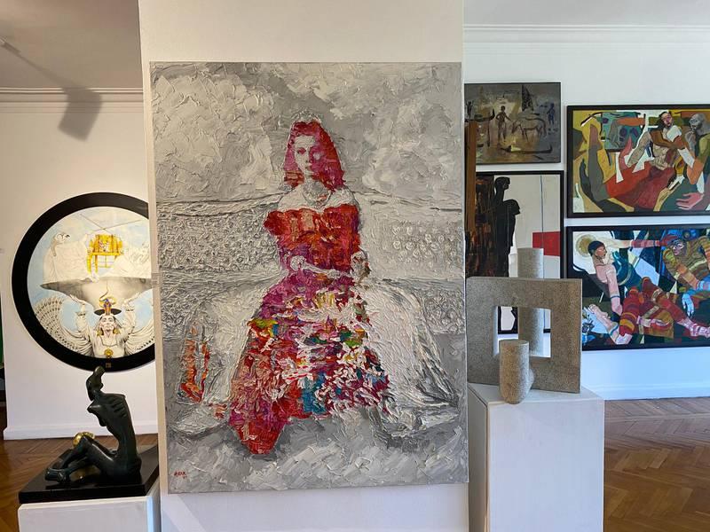 Hossam Dirar's 'Queen Fawzeya' oil painting is selling for $9,600. Nada El Sawy / The National