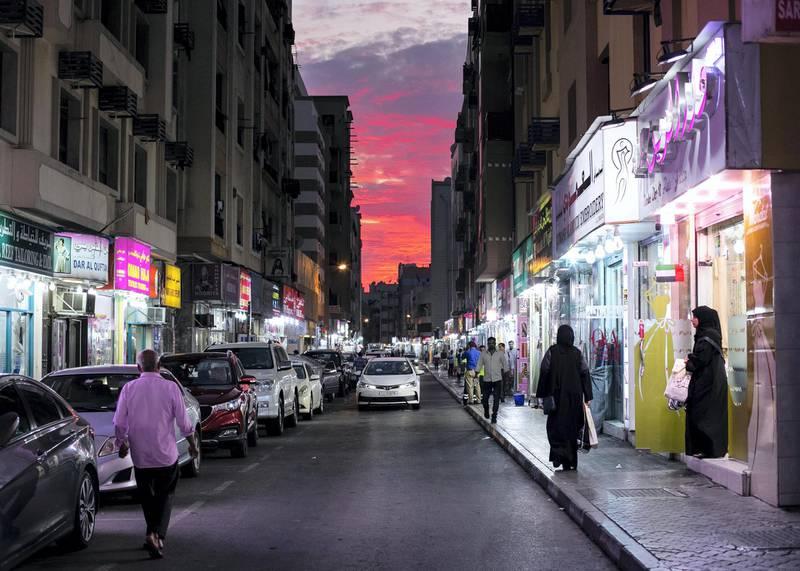 DUBAI, UNITED ARAB EMIRATES. 29 JANUARY 2020. Sunset seen from Freej Al Marar.(Photo: Reem Mohammed/The National)Reporter:Section: