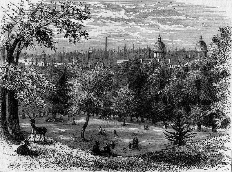 Crowds enjoy the view in Greenwich Park, London circa 1850.  (Photo by Epics/Getty Images)