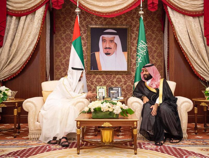 Abu Dhabi's Crown Prince Sheikh Mohammed bin Zayed al-Nahyan meets with Saudi Crown Prince Mohammed bin Salman during the Saudi-UAE Summit in Jeddah, Saudi Arabia, June 6, 2018. Picture taken June 6, 2018. Bandar Algaloud/Courtesy of Saudi Royal Court/Handout via REUTERS ATTENTION EDITORS - THIS PICTURE WAS PROVIDED BY A THIRD PARTY