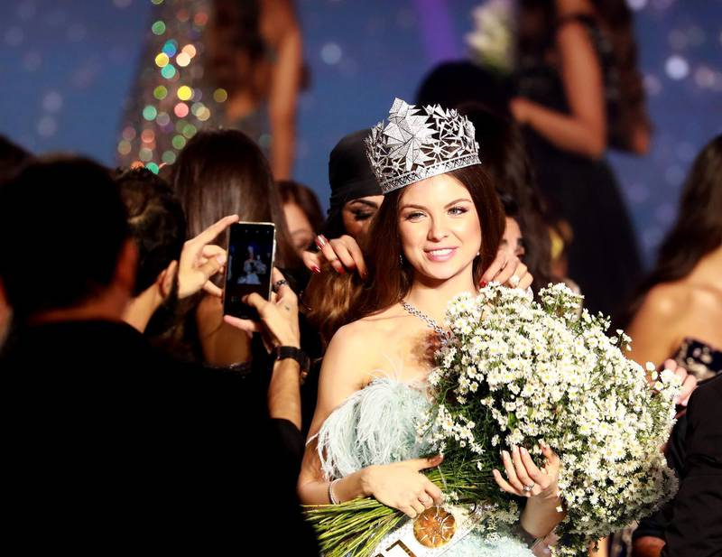 Newly crowned Miss Lebanon 2018, Maya Reaidy, smiles after being elected in the capital Beirut on September 30, 2018. (Photo by ANWAR AMRO / AFP)