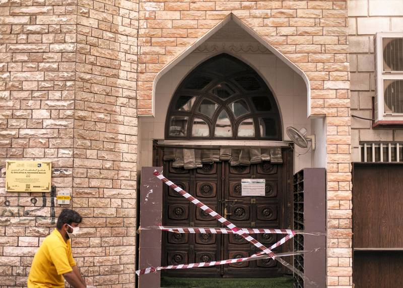 DUBAI, UNITED ARAB EMIRATES. 7 APRIL 2020. Closed Masjid Al-Khulafaa Al-Rashideen in Naif. Once vibrant, Deira streets are now more quiet after the movement restrictions placed post-COVID outbreak.(Photo: Reem Mohammed/The National)Reporter:Section: