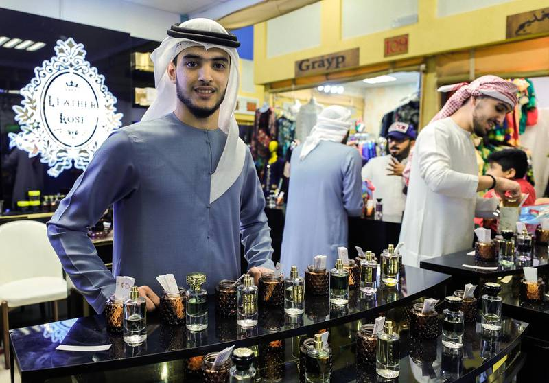 Abu Dhabi, United Arab Emirates, January 5, 2020.  Photo essay of Global Village.  Ibrahim Al Ameri, 23, Syria, Has been working for the Leather Rose perfume store at the UAE Pavillion for seven years now.Victor Besa / The NationalSection:  WKReporter:  Katy Gillett