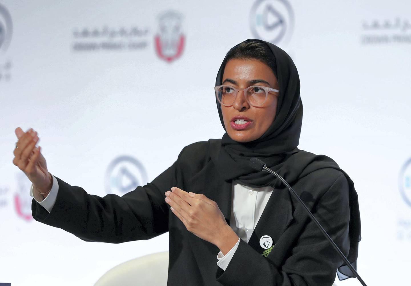 Abu Dhabi, United Arab Emirates - October 06, 2019: The Power of Culture in Knowledge Development with H.E. Noura bint Mohammed Al Kaabi, Minister of Culture and Knowledge Development, UAE. Qudwa is a forum for teachers, by teachers that aims to elevate the teaching profession in the UAE. Sunday the 6th of October 2019. Manarat Al Saadiyat, Abu Dhabi. Chris Whiteoak / The National