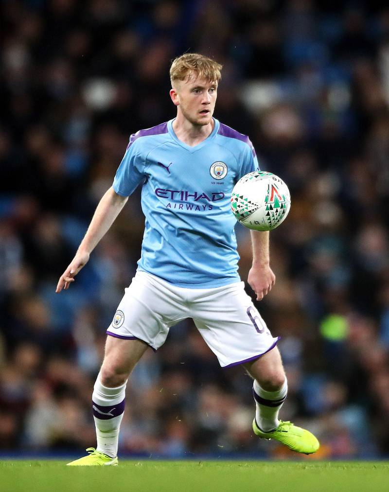 """Manchester City's Tommy Doyle during the Carabao Cup, Fourth Round match at the Etihad Stadium, Manchester. PA Photo. Picture date: Tuesday October 29, 2019. See PA story SOCCER Man City. Photo credit should read: Nick Potts/PA Wire. RESTRICTIONS: EDITORIAL USE ONLY No use with unauthorised audio, video, data, fixture lists, club/league logos or """"live"""" services. Online in-match use limited to 120 images, no video emulation. No use in betting, games or single club/league/player publications."""