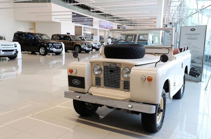 DUBAI, UNITED ARAB EMIRATES , June 27 – 2020 :- Classic Land Rover Defender on display at the Land Rover Defenders showroom on Sheikh Zayed Road in Dubai. (Pawan Singh / The National) For Motoring. Story by Simon