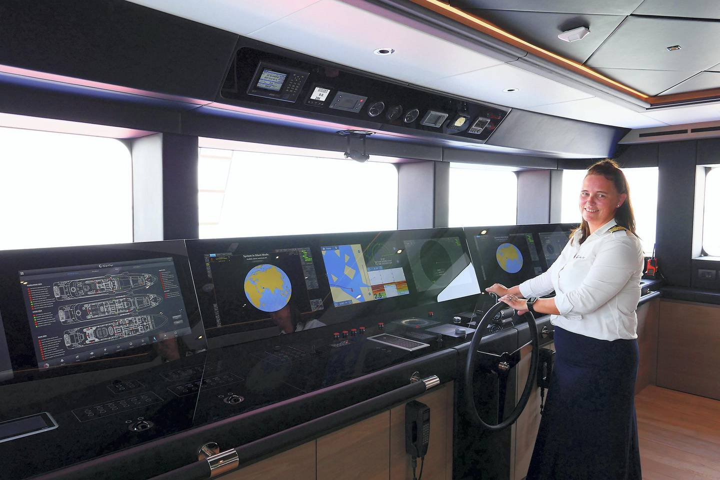 Patricia Caswell, the only female boat captain in the UAE, one of only a few hundred worldwide at the Gulf Craft in Umm Al Quwain on April 28,2021. Pawan Singh / The National