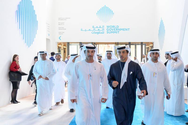 JUMEIRAH, DUBAI, UNITED ARAB EMIRATES - February 10, 2019: HH Sheikh Hazza bin Zayed Al Nahyan, Vice Chairman of the Abu Dhabi Executive Council (3rd R) and HH Sheikh Mansour bin Zayed Al Nahyan, UAE Deputy Prime Minister and Minister of Presidential Affairs (2nd R), attend the 2019 World Government Summit. ( Saeed Al Neyadi / Ministry of Presidential Affairs ) ---