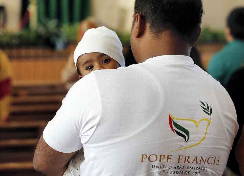 Ras Al Khaimah, February, 05, 2019: People attend the Pope Francis Papal mass live streaming at St Anthony of Padua Church in Ras Al Khaimah . Satish Kumar/ For the National / Story by Ruba Haza