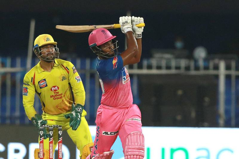 Sanju Samson of RR plays a shot during match 4 of season 13 of the Indian Premier League (IPL) between Rajasthan Royals  and Chennai Super Kings held at the Sharjah Cricket Stadium, Sharjah in the United Arab Emirates on the 24th September 2020.  Photo by: Rahul Gulati  / Sportzpics for BCCI