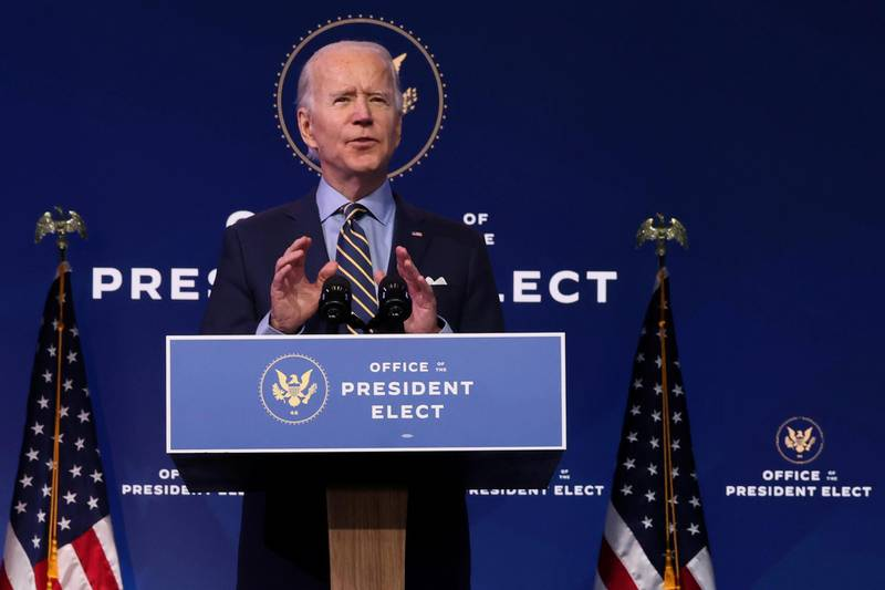 U.S. President-elect Joe Biden delivers remarks on national security and foreign policy at his transition headquarters in Wilmington, Delaware, U.S. December 28, 2020. REUTERS/Jonathan Ernst