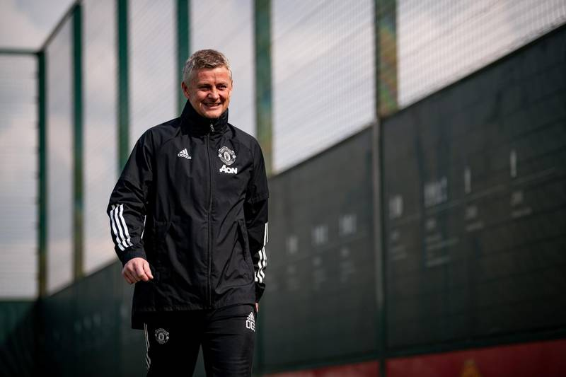 MANCHESTER, ENGLAND - APRIL 14: Manager Ole Gunnar Solskjaer of Manchester United in action during a first team training session at Aon Training Complex on April 14, 2021 in Manchester, England. (Photo by Ash Donelon/Manchester United via Getty Images)