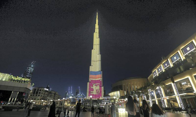 Dubai, April, 25, 2019:  Burj Khalifa lit with the Srilankan Flag in Dubai. Satish Kumar/ For the National
