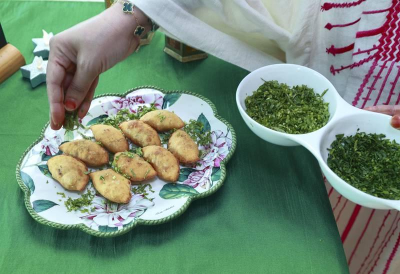 Abu Dhabi, United Arab Emirates, April 12, 2021.  Ramadan Recipes.  Ramadan dishes by Ashwaq Abdolmonem.  Sambousek puff.Victor Besa/The NationalSection:  ACReporter:  Hanan Sayed Worrell