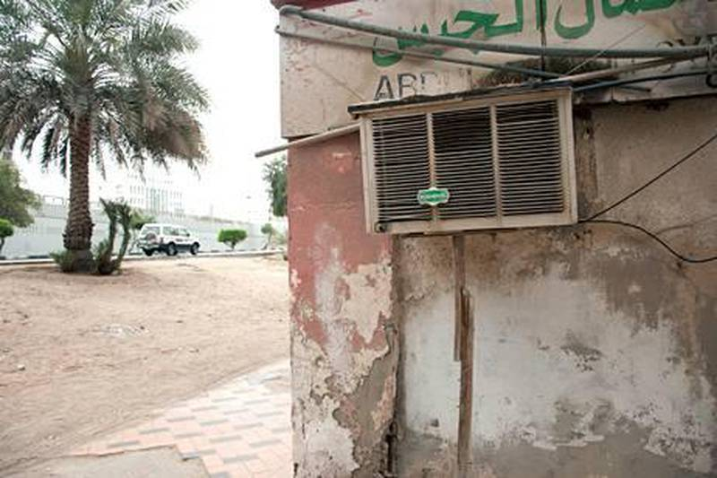 April 5, 2011- Abu Dhabi- Older air conditioners units used in old buildings in Abu Dhabi City. They are unhealthy for the users and are not energy efficient. This view is uncivilized for the Emirate of Abu Dhabi. Fatima Al Marzouqi/The National