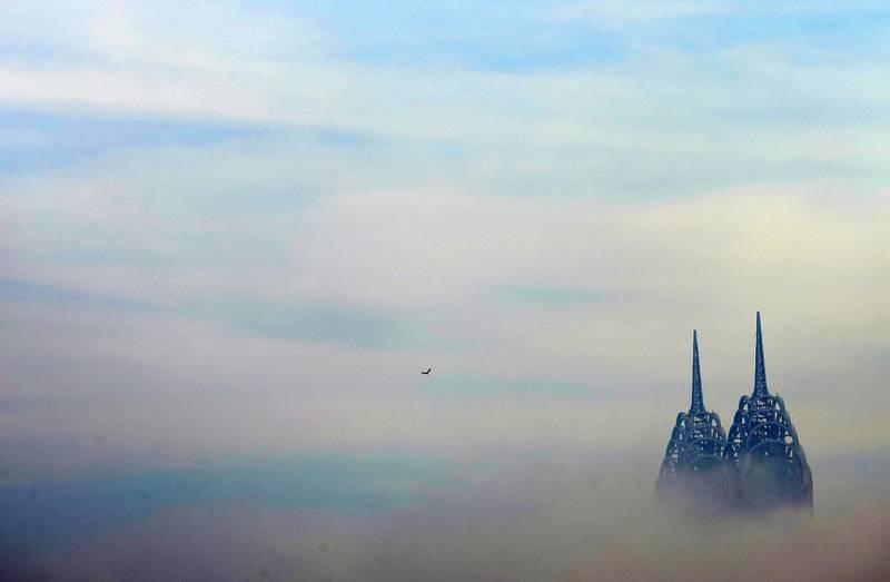 Dubai, United Arab Emirates - December 26th, 2017: Heavy fog in Dubai. Tuesday, December 26th, 2017, Dubai. Chris Whiteoak / The National