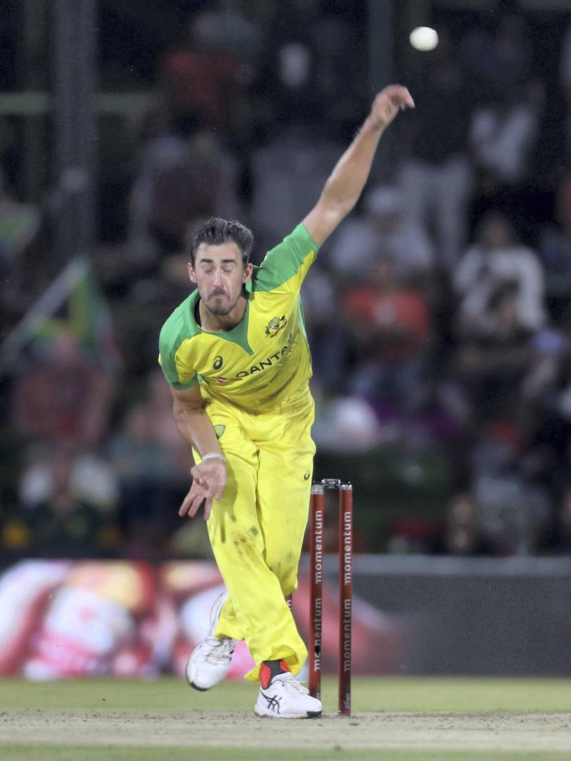 Cricket - South Africa v Australia - Second ODI - Mangaung Oval, Bloemfontein, South Africa - March 4, 2020   Australia's Mitchell Starc in action   REUTERS/Siphiwe Sibeko