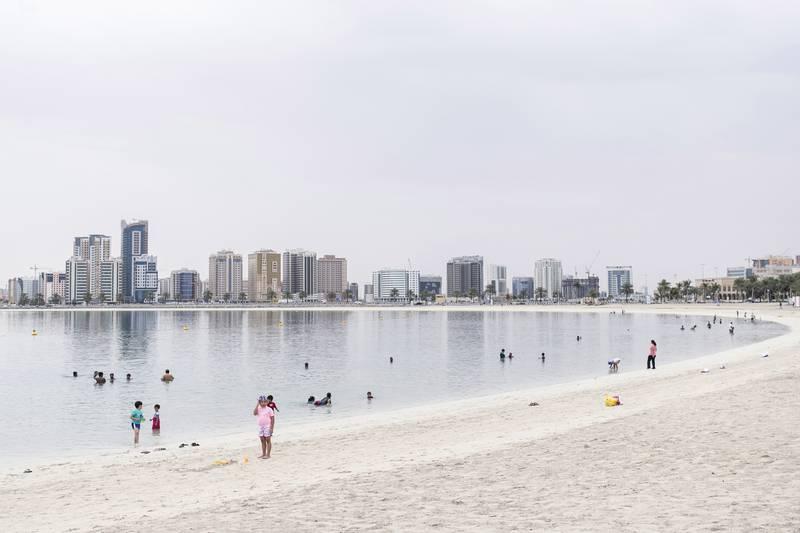 DUBAI, UNITED ARAB EMIRATES, APR 15, 2016. Families on a cloudy day at Al Mamzar Beach.Photo: Reem Mohammed / The National  *** Local Caption ***  RM_20160415_MAMZAR_15.JPG