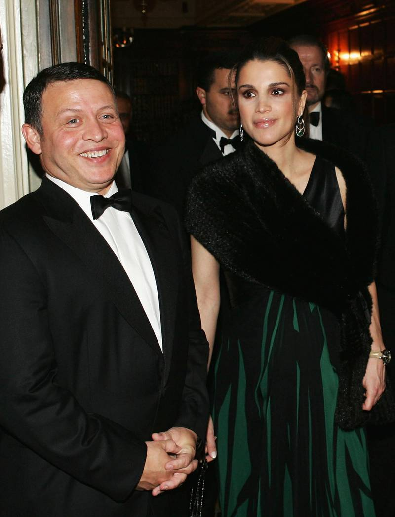 LONDON - NOVEMBER 23:  King Abdullah and Queen Rania of Jordan attend the Foreign Press Association annual awards November 23, 2004 in central London, England. The annual ceremony rewards excellence in foreign reporting and other areas of serious journalism, both print and broadcast.  (Photo by Graeme Robertson/Getty Images)