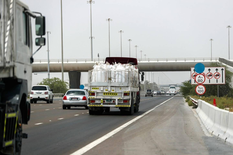 Abu Dhabi, U.A.E., August 9 , 2018.  Speed buffer signs along  the Al Raha Yacht Club area. Victor Besa / The NationalSection:  NA