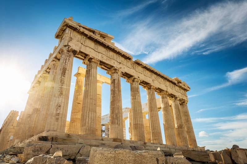 The Parthenon on the Athenian Acropolis in Sunlight. The Temple is dedicated to the Greek Goddess Athena. Athens, Greece. Courtesy Four Seasons