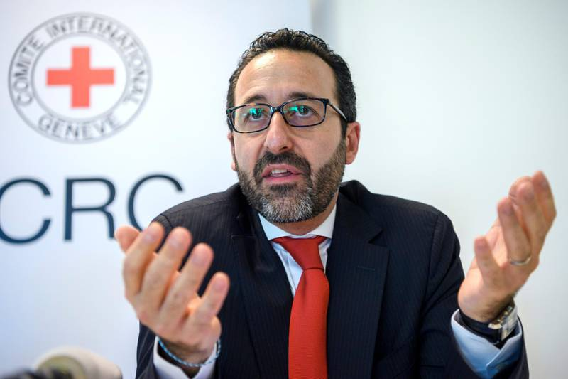 epa06774823 Robert Mardini, Regional Director the Near and Middle East  speaks during a press conference on the situation in Gaza, at the International Red Cross, ICRC, headquarters in Geneva, Switzerland, 31 May 2018.  EPA/MARTIAL TREZZINI