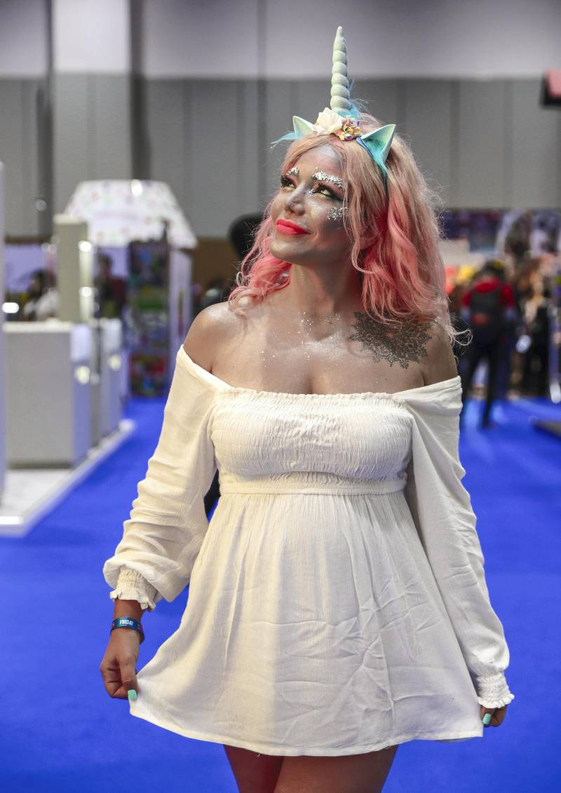 Dubai, April 12, 2019.  MEFCC day 2-Emma Ghanam in a unicorn themed costume..Victor Besa/The National.Section:  AC  Reporter:  Chris Newbould