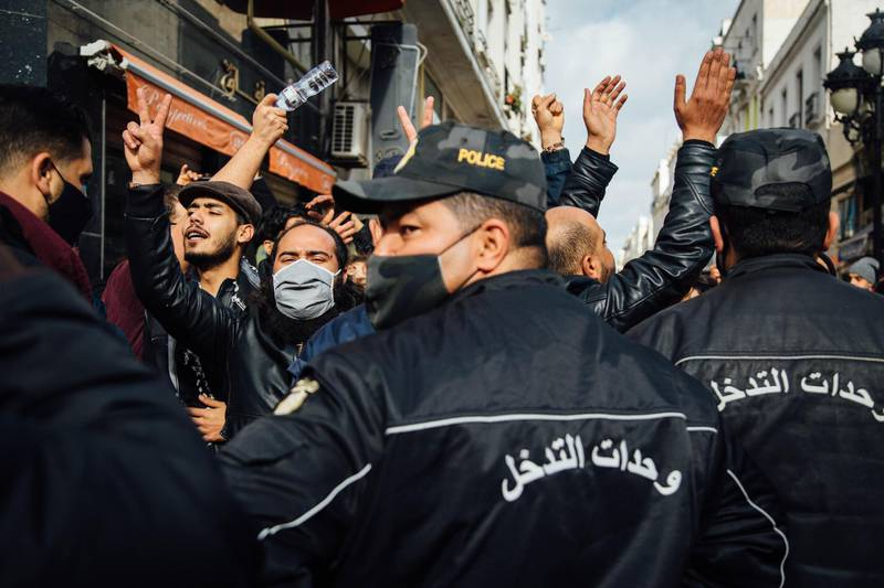 Antigovernment protests in downtown Tunis, Monday, January 18, 2021. Erin Clare Brown / The National