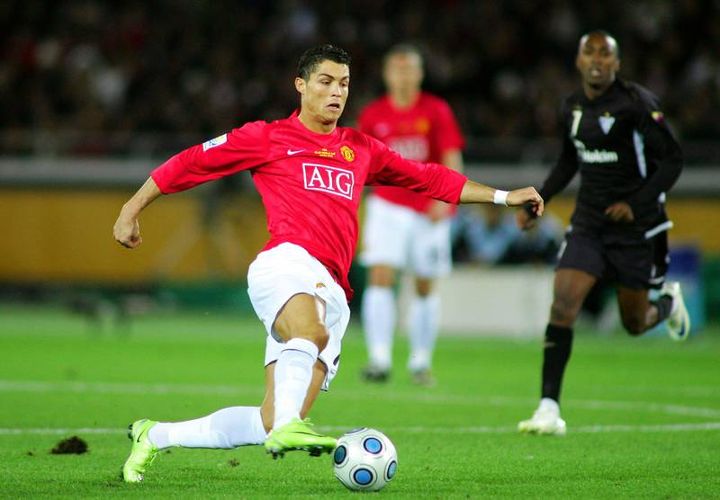 YOKOHAMA, JAPAN - DECEMBER 21:  Cristiano Ronaldo of Manchester United controls the ball  during the FIFA Club World Cup Japan 2008 Final match between Manchester United and Liga De Quito at the International Stadium Yokohama on December 21, 2008 in Yokohama, Kanagawa, Japan. Manchester United won by 1-0.  (Photo by Koji Watanabe/Getty Images)