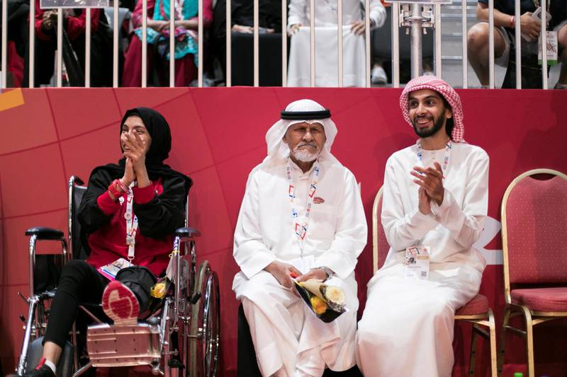 ABU DHABI, UNITED ARAB EMIRATES - March 20 2019.UAE spectators cheer their teammates at the badminton double division tournament at the Special Olympics World Games in ADNEC. (Photo by Reem Mohammed/The National)Reporter: Section:  NA