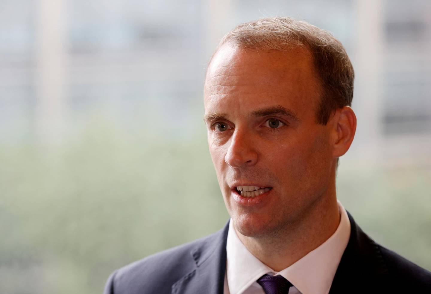FILE PHOTO: Britain's Foreign Secretary Dominic Raab speaks during an interview with Reuters in Seoul, South Korea, September 29, 2020.   REUTERS/Kim Hong-Ji/File Photo
