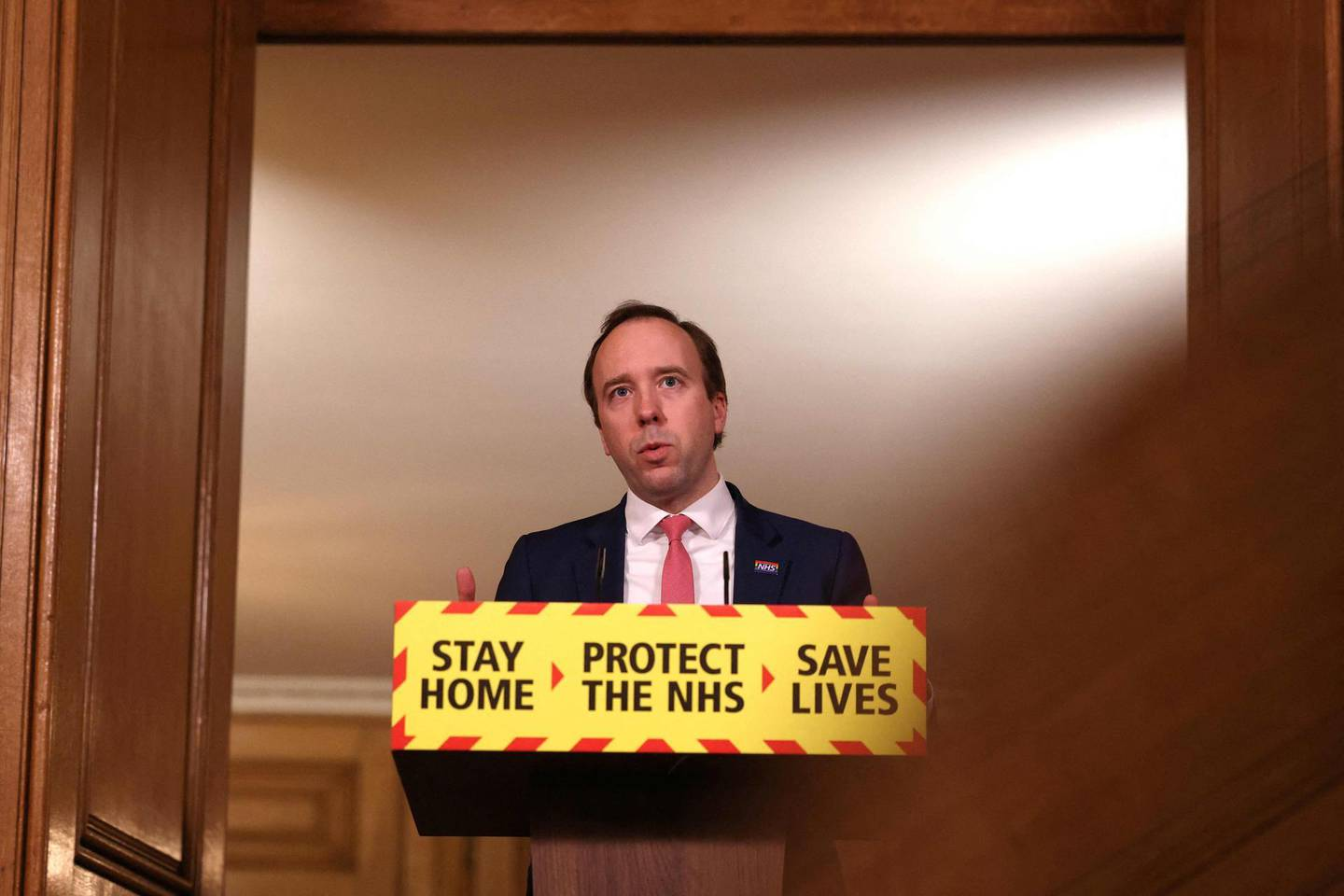 Britain's Health Secretary Matt Hancock gives an update on the coronavirus covid-19 pandemic during a virtual press conference inside 10 Downing Street in central London on March 5, 2021.  / AFP / POOL / Dan Kitwood