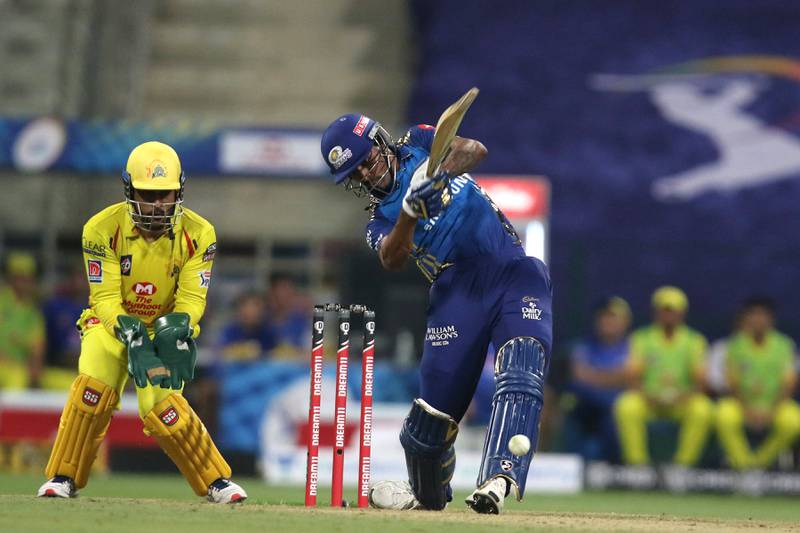 Hardik Pandya of The Mumbai Indians plays a shot during match 1 of season 13 of the Dream 11 Indian Premier League (IPL) between the Mumbai Indians and the Chennai Superkings held at the Sheikh Zayed Stadium, Abu Dhabi  in the United Arab Emirates on the 19th September 2020.  Photo by: Pankaj Nangia /  Sportzpics for BCCI