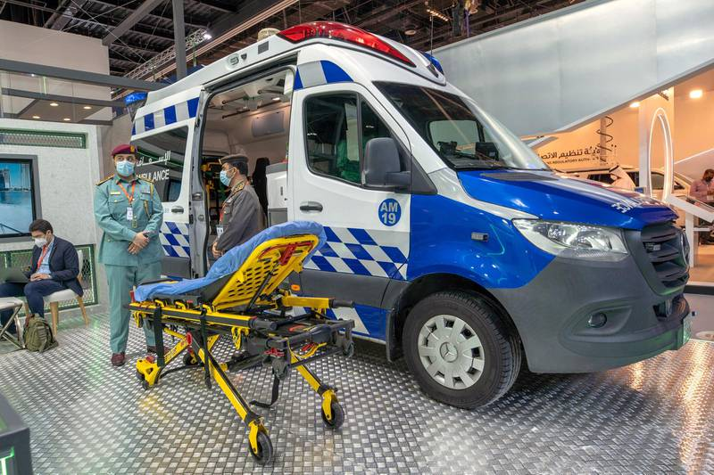 Abu Dhabi, United Arab Emirates, February 24, 2021.  Idex 2021 Day 4. Abu Dhabi Police Ambulance on display.Victor Besa / The NationalSection:  NA