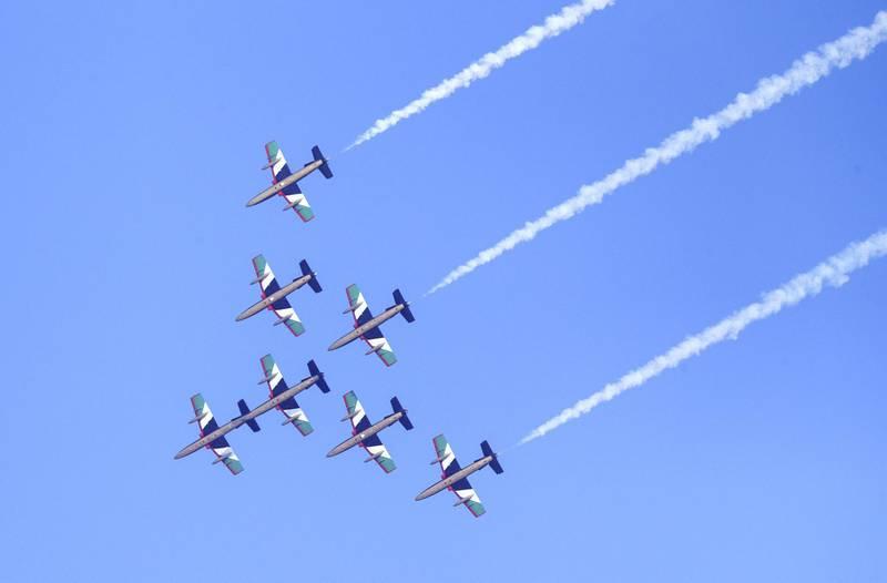 Abu Dhabi, United Arab Emirates, November 30, 2019.  Formula 1 Etihad Airways Abu Dhabi Grand Prix.--  Al Fursan Aerobatics display.Victor Besa / The NationalSection:  SPReporter:  Simon Wilgress-Pipe