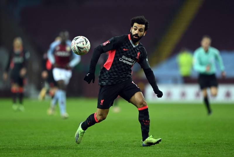 BIRMINGHAM, ENGLAND - JANUARY 08:  Mohamed Salah of Liverpool runs for the ball during the FA Cup Third Round match between Aston Villa and Liverpool on January 08, 2021 in Birmingham, England. (Photo by Shaun Botterill/Getty Images)