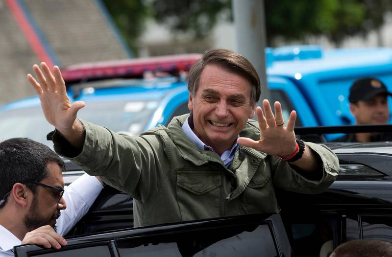 In this Oct. 28, 2018 photo, Jair Bolsonaro, presidential candidate with the Social Liberal Party, waves after voting in the presidential runoff election in Rio de Janeiro, Brazil. Bolsonaro is running against leftist candidate Fernando Haddad of the Workers' Party. (AP Photo/Silvia izquierdo)