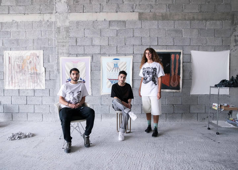 DUBAI, UNITED ARAB EMIRATES. 6 AUGUST 2020. Ziad Al Najjar, Talal Al Najjar, and Moza Almazrouei in their studio in Galleria Mall, Al Barsha.(Photo: Reem Mohammed/The National)Reporter:Section: