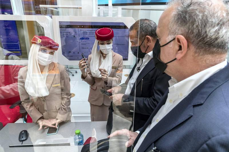Emirates Airlines launches a new screening process for passengers. The opening day of Arab Health 2021 at the Dubai World Trade Center on June 21st, 2021. Antonie Robertson / The National.Reporter: Nic Webster for National
