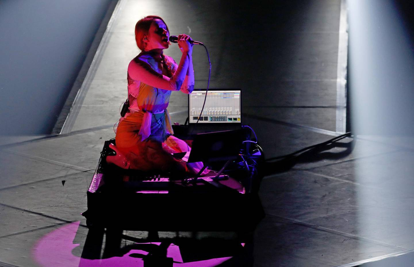 BERLIN, GERMANY - NOVEMBER 22: US musician Holly Herndon performs during the International Music Award (IMA) 2019 in Berlin, Germany, 22 November 2019. The IMA recognizes the efforts of artists to share their work with a statement independently of the commercial success.  (Photo by Felipe Trueba - Pool/Getty Images)