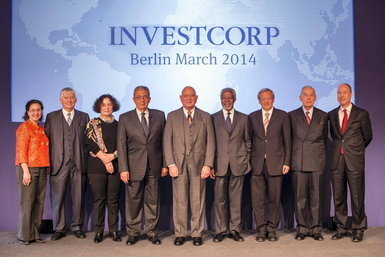 from left to right: Dr. Tamara Cofman Wittes, Dr. Otto Schily, Dr. Ana  Palacio, H.E. Amre Moussa, Mr. Nemir A. Kirdar, H.E. Kofi Annan, H.E. Wolfgang Schuessel, Dr. Pierre Keller, Mr. Douglas Elliott