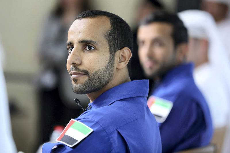 DUBAI, UNITED ARAB EMIRATES , Nov 12  – 2019 :- Hazza Al Mansouri (left) and Sultan Al Neyadi (right), UAE Astronauts during the press conference held at Dubai Media Office at the World Trade Centre in Dubai. ( Pawan Singh / The National )  For News. Story by Patrick